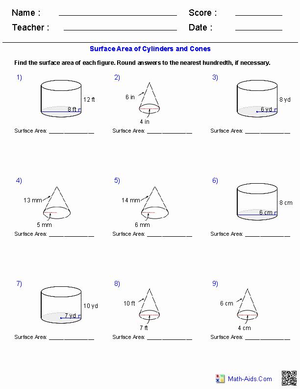Volume Of Cylinders Worksheet Lovely Geometry Worksheets