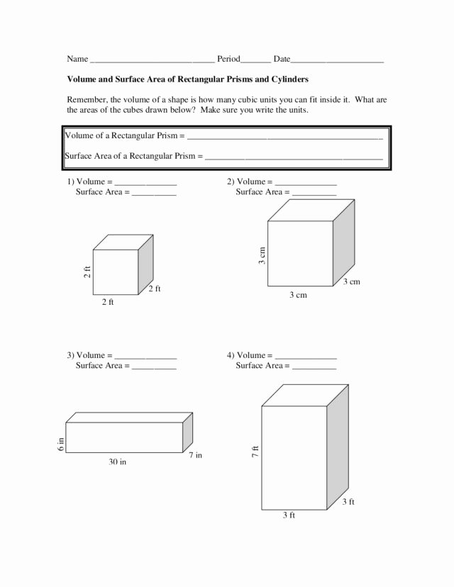 Volume Of Cylinders Worksheet Lovely Volume and Surface area Of Rectangular Prisms and