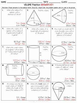 Volume Of Cylinders Worksheet Lovely Volume Of Cylinders Cones and Spheres Practice Coloring