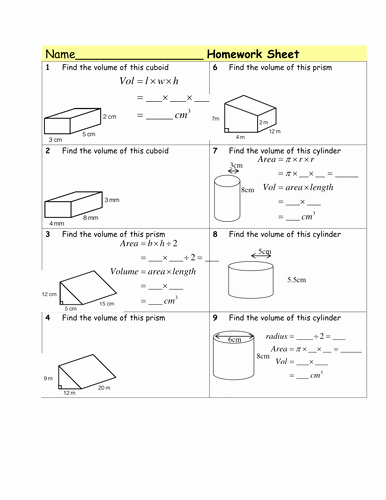 Volume Of Cylinders Worksheet Luxury Homework Volume Of Prisms & Cylinders by Tristanjones