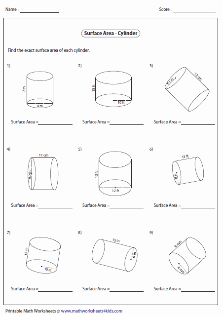 Volume Of Cylinders Worksheet Luxury Surface area Worksheets