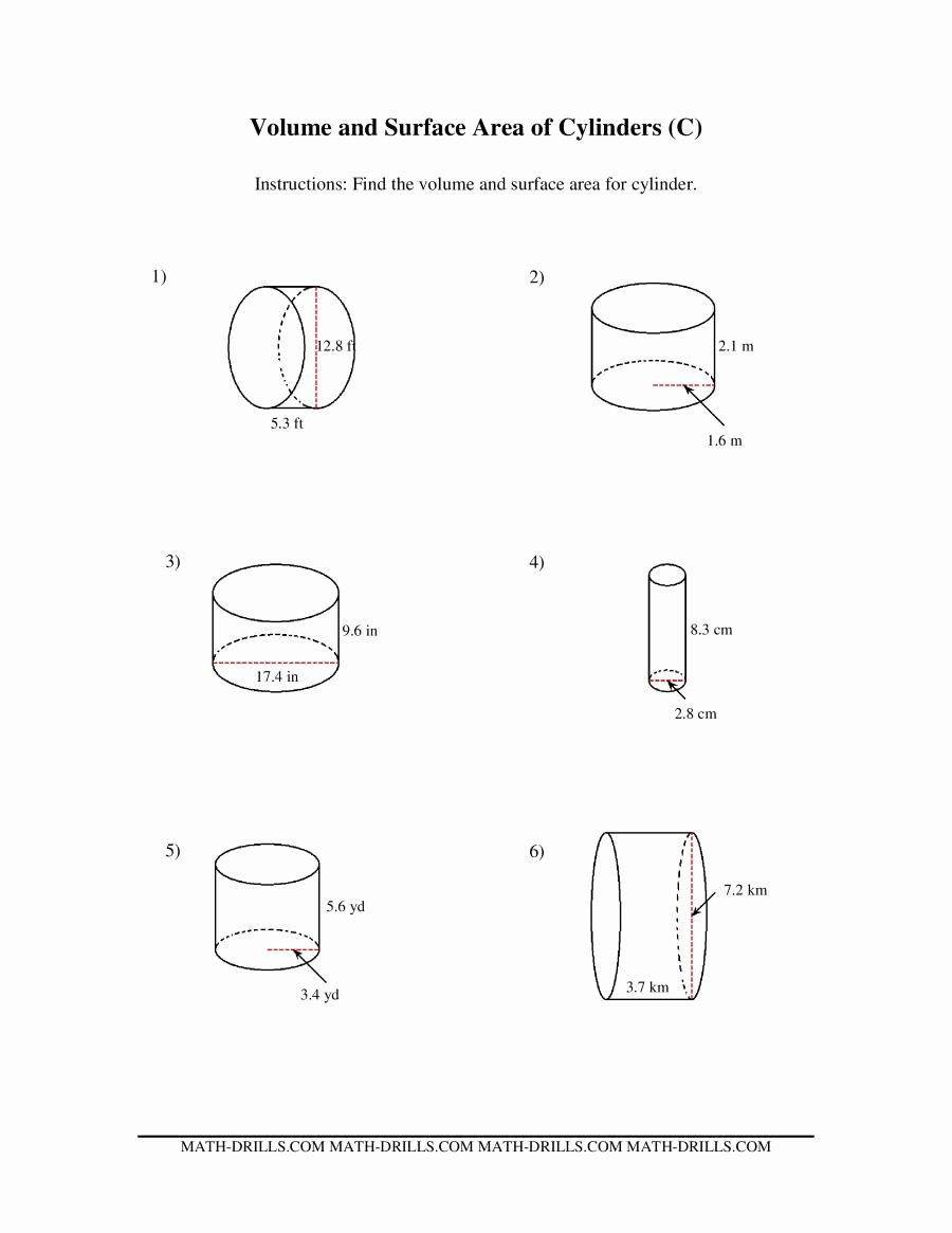 Volume Of Cylinders Worksheet Luxury Volume and Surface area Of Cylinders C
