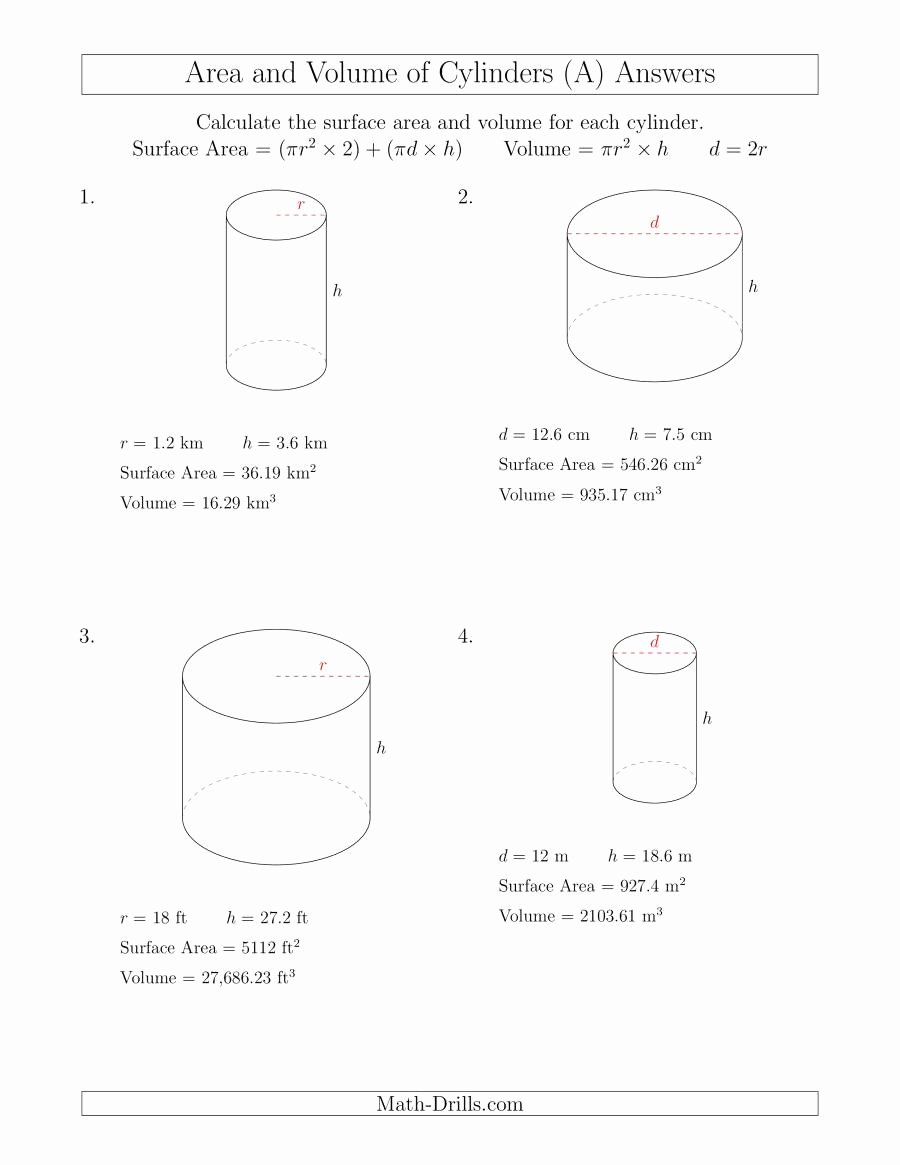 Volume Of Cylinders Worksheet Unique Calculating Surface area and Volume Of Cylinders A