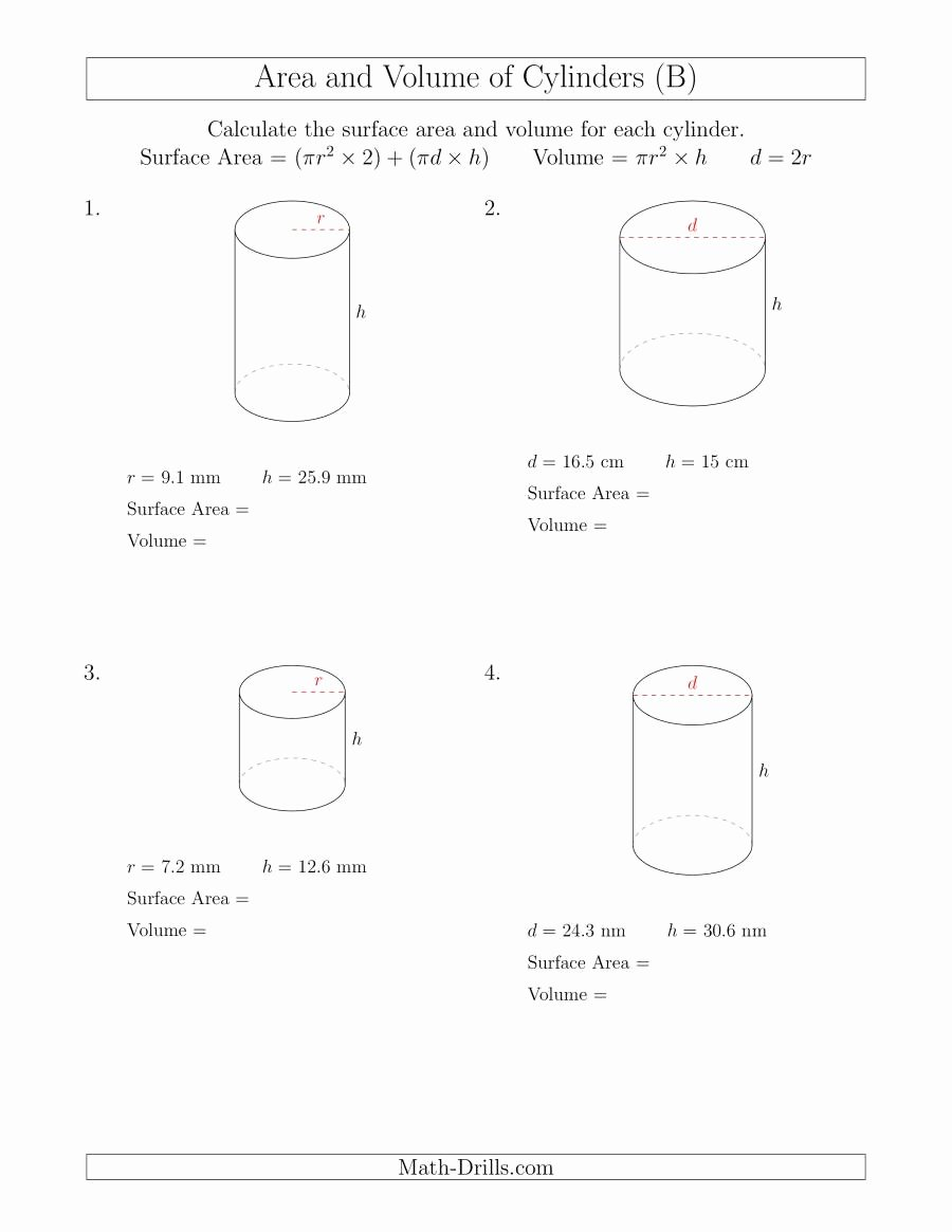 Volume Of Cylinders Worksheet Unique Calculating Surface area and Volume Of Cylinders B