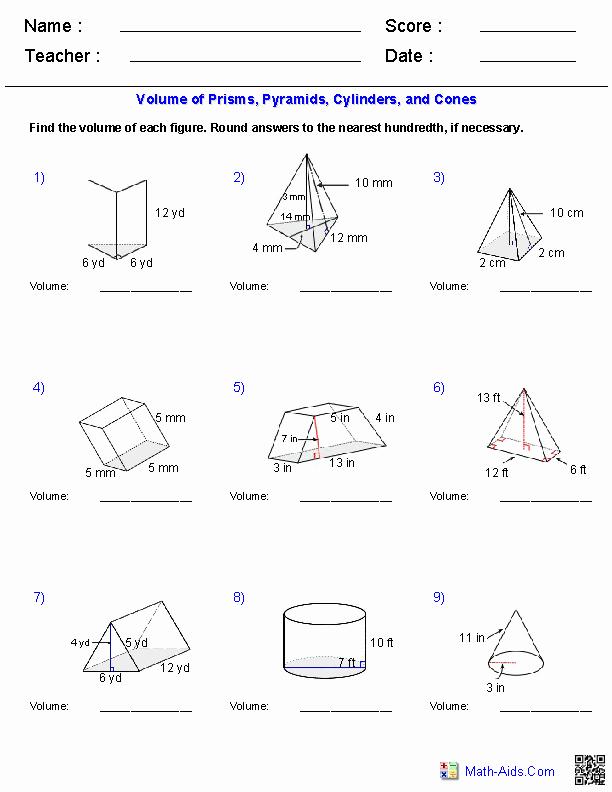 Volume Of Prism Worksheet Beautiful Geometry Worksheets