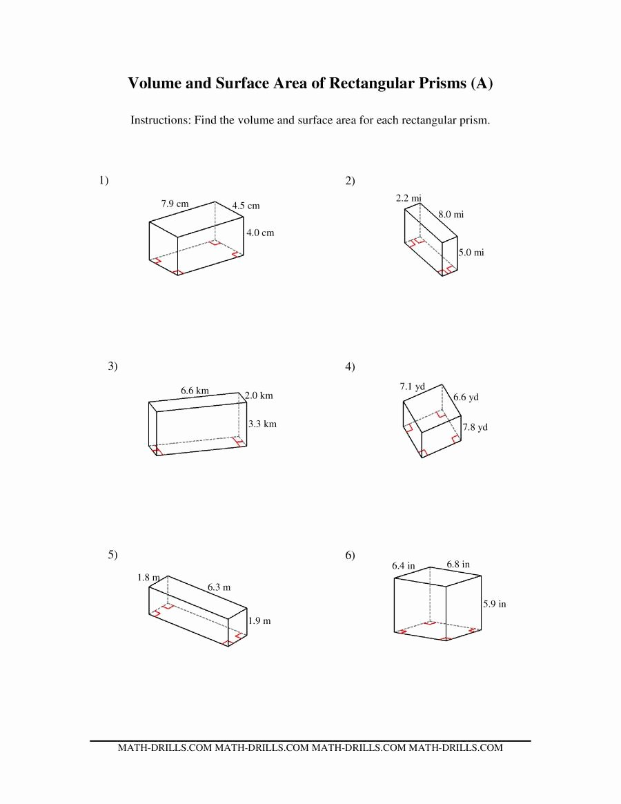 Volume Of Prism Worksheet Beautiful Volume and Surface area Of Rectangular Prisms A