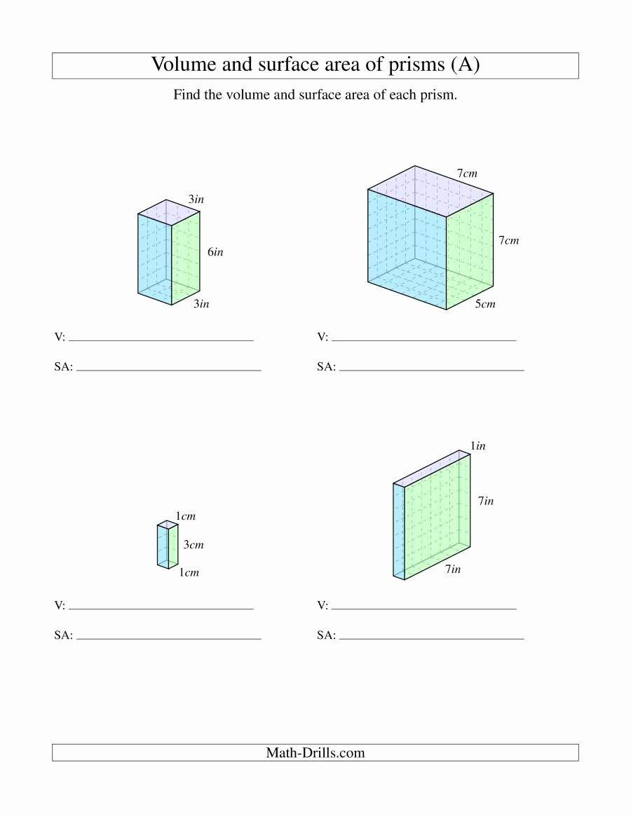 Volume Of Prism Worksheet Beautiful Volume and Surface area Of Rectangular Prisms with whole
