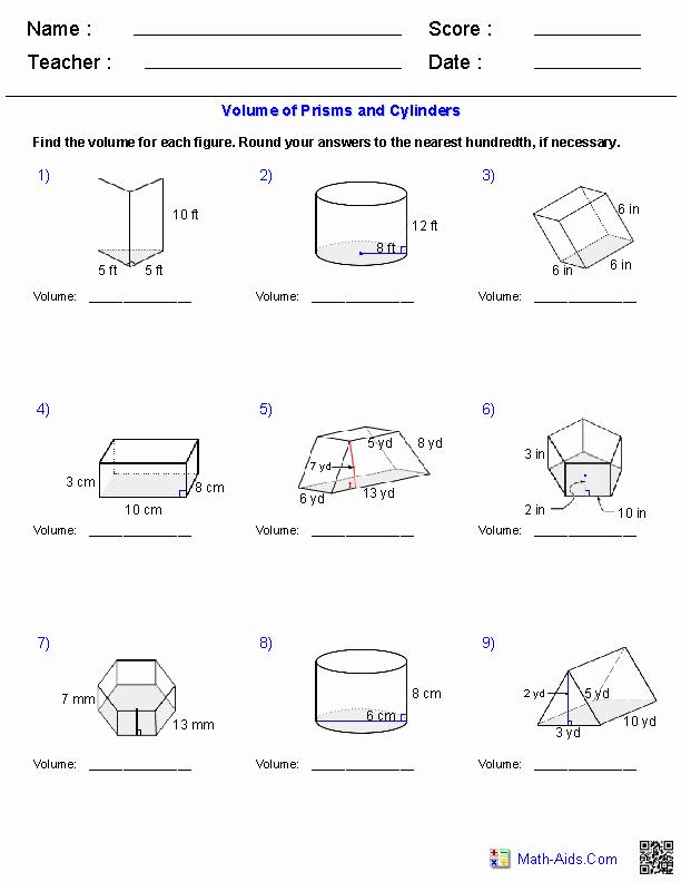 Volume Of Prism Worksheet Best Of Prisms and Cylinders Volume Worksheets
