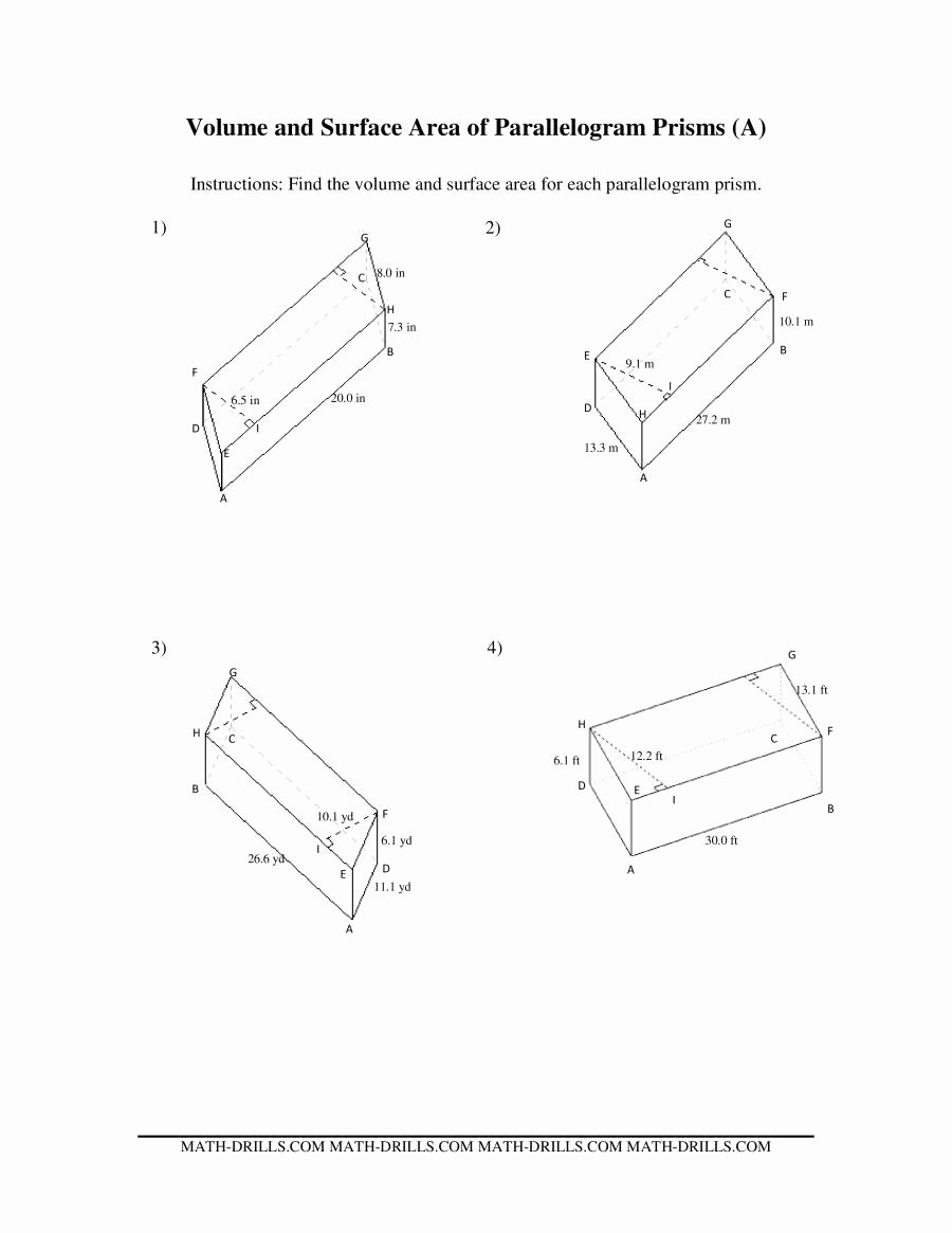 Volume Of Prism Worksheet Best Of Volume and Surface area Of Parallelogram Prisms A
