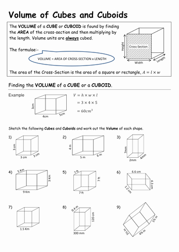 Volume Of Prism Worksheet Best Of Volume Of Cuboids and Triangular Prisms by Pebsy