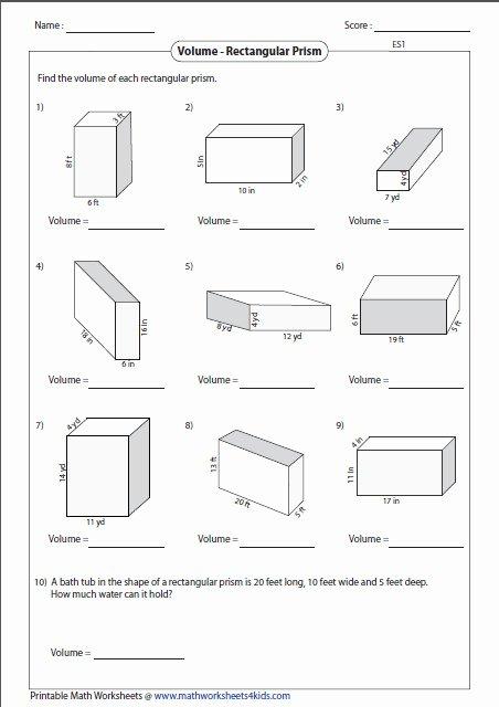 Volume Of Prism Worksheet Elegant Volume Worksheet