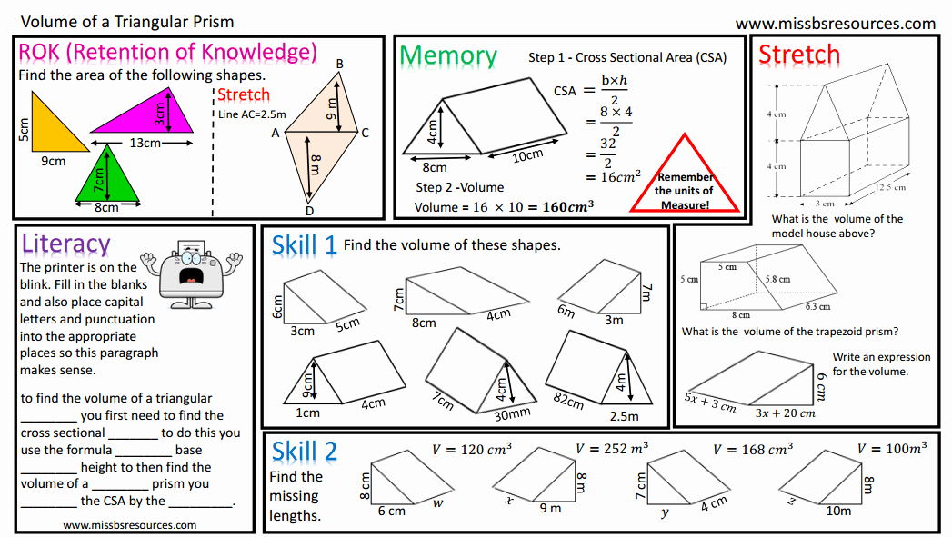 Volume Of Prism Worksheet Fresh Geometry Maths Differentiated Worksheets
