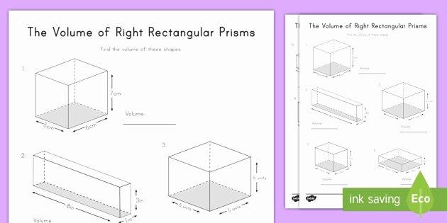 Volume Of Prism Worksheet Fresh the Volume Of Right Rectangular Prisms Worksheet