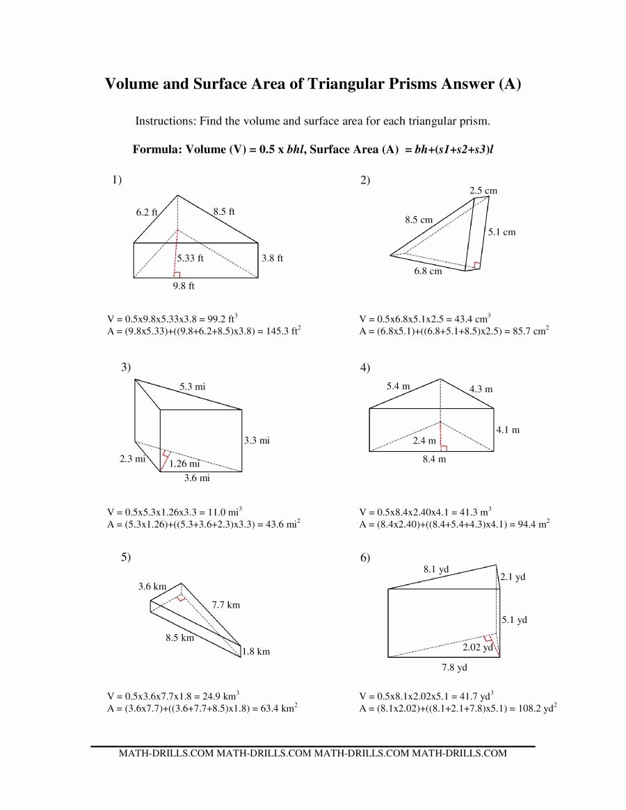 Volume Of Prism Worksheet Fresh Volume and Surface area Of Triangular Prisms A