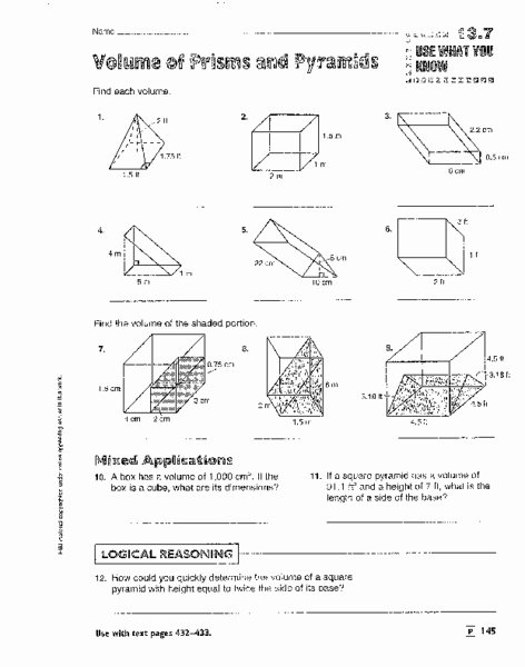 Volume Of Prism Worksheet Fresh Volume Of Prisms Pyramids Cylinders and Cones Worksheet