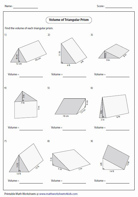 Volume Of Prism Worksheet Fresh Volume Prisms Worksheet