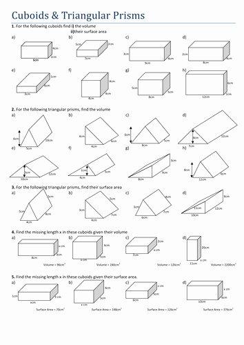 Volume Of Prism Worksheet Inspirational Volume Prisms Worksheet