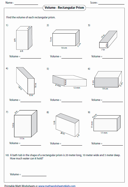 Volume Of Prism Worksheet Inspirational Volume Worksheets