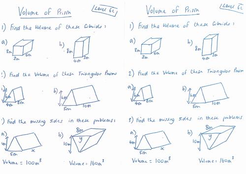 Volume Of Prism Worksheet Lovely Volume Of 3d Shapes Triangular Prisms & Cylinder by