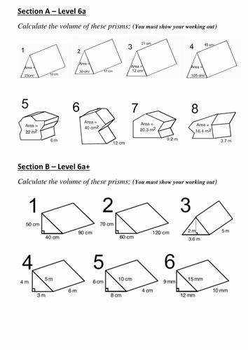 Volume Of Prism Worksheet Lovely Volume Of Prism by Sukh Bal1985 Teaching Resources Tes