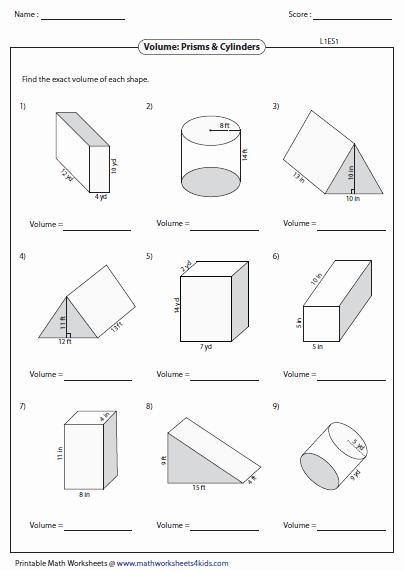 Volume Of Prism Worksheet Luxury Volume Worksheets