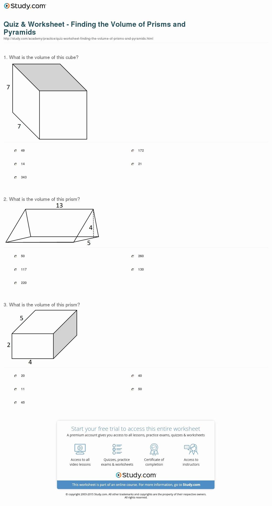 Volume Of Prism Worksheet Unique Quiz & Worksheet Finding the Volume Of Prisms and