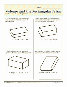 Volume Of Prism Worksheet Unique Volume and the Rectangular Prisms