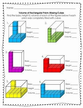 Volume Of Prism Worksheet Unique Volume Of Rectangular Prisms and Irregular Figures