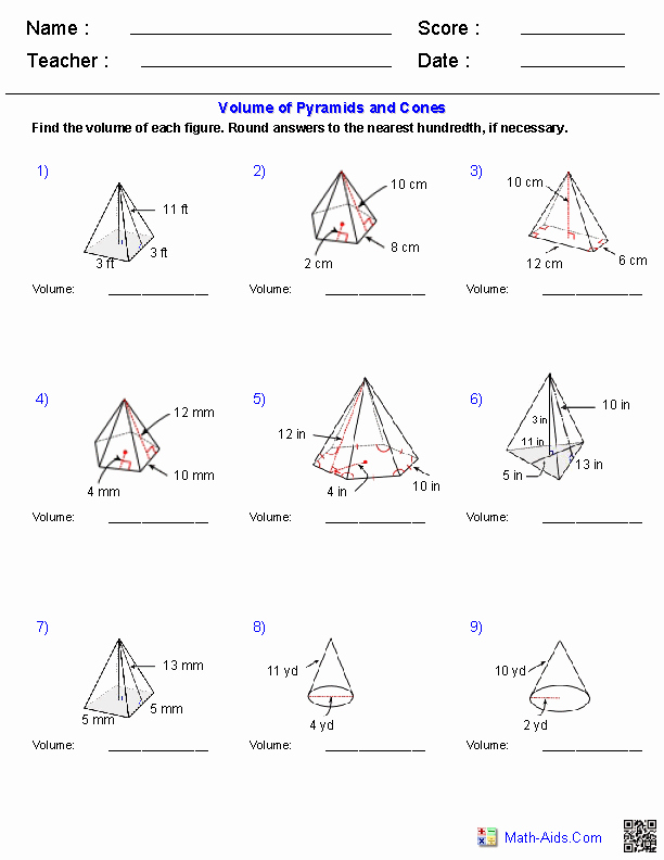 Volume Of Pyramids Worksheet Beautiful Geometry Worksheets