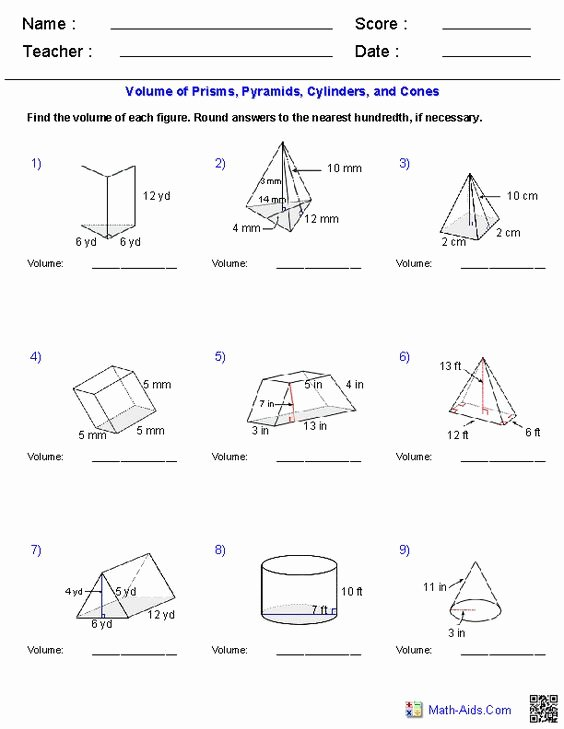 Volume Of Pyramids Worksheet Beautiful Prisms Pyramids Cylinders & Cones Volume Worksheets