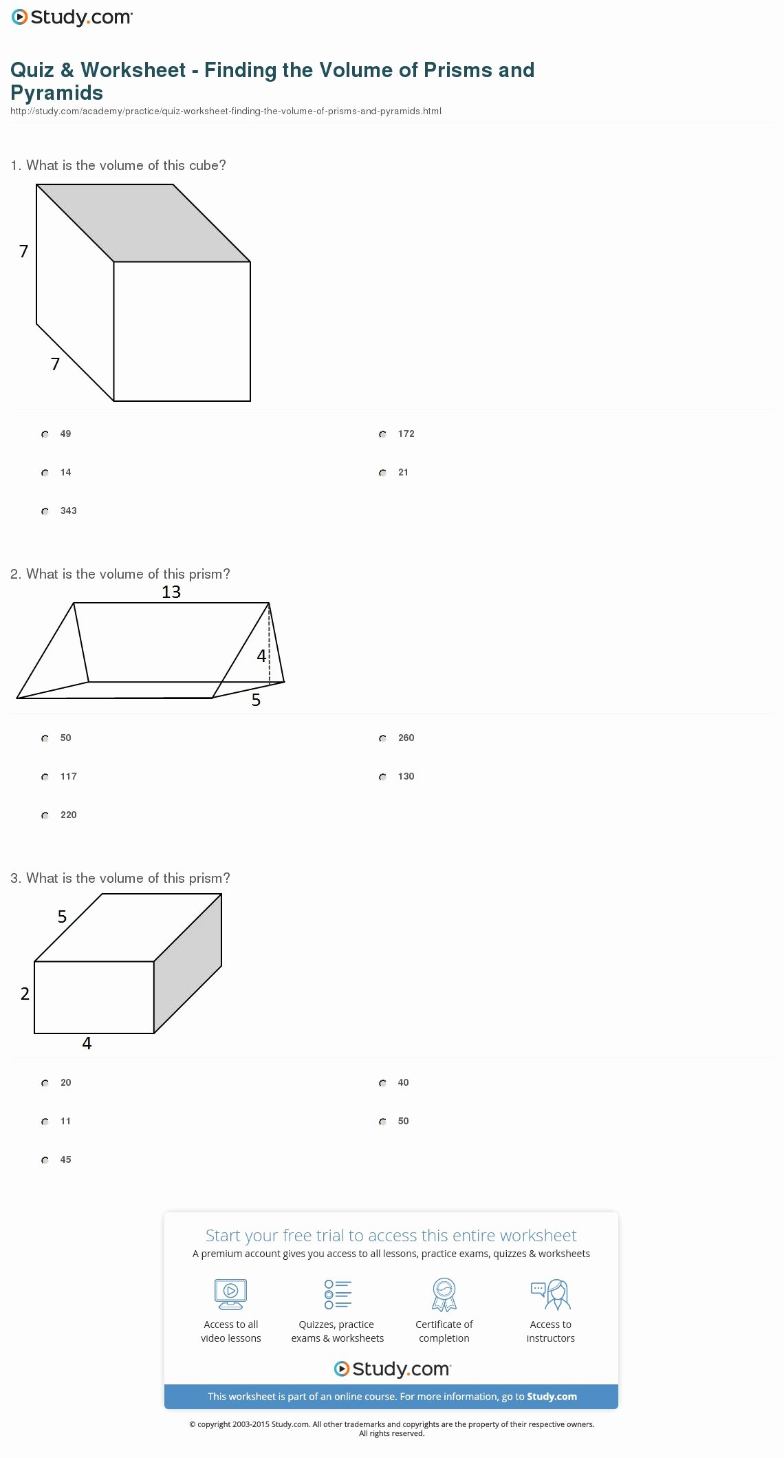 Volume Of Pyramids Worksheet Beautiful Quiz & Worksheet Finding the Volume Of Prisms and