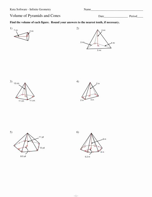 Volume Of Pyramids Worksheet Best Of 10 Volume Of Pyramids and Cones Kuta software