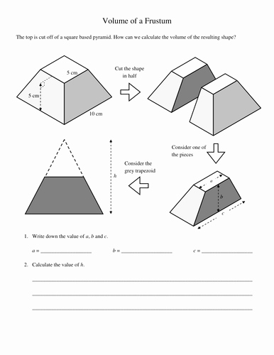 Volume Of Pyramids Worksheet Best Of Pyramids and Frustums Volumes Worksheet by Kevinbertman