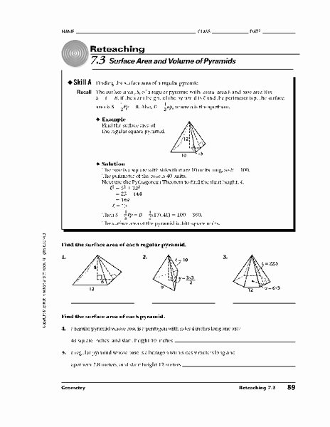 Volume Of Pyramids Worksheet Elegant Surface area and Volume Of Pyramids Worksheet for 10th