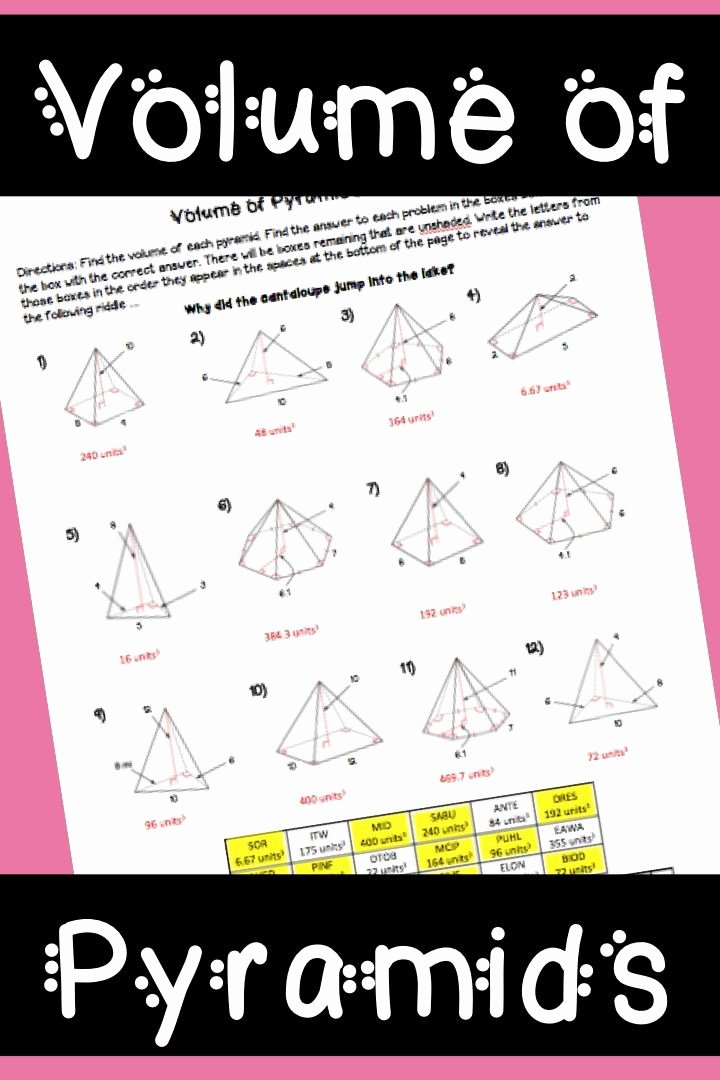 Volume Of Pyramids Worksheet Inspirational 17 Best Ideas About Geometry Worksheets On Pinterest