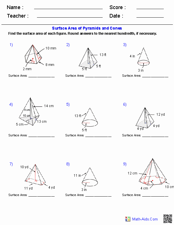 Volume Of Pyramids Worksheet Inspirational Pyramids and Cones Surface area Worksheets