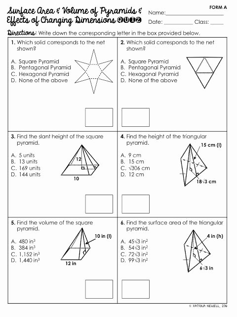 Volume Of Pyramids Worksheet Luxury Surface area and Volume Of Pyramids Unit