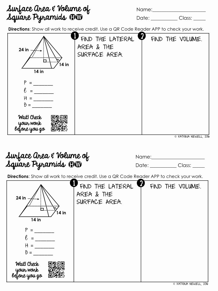 Volume Of Pyramids Worksheet Unique Surface area and Volume Of Pyramids Unit