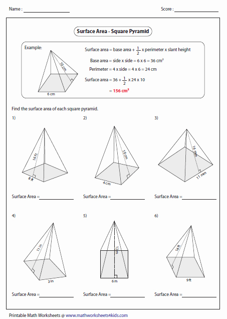 Volume Of Pyramids Worksheet Unique Surface area Worksheets