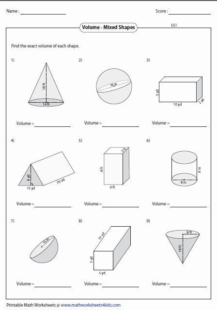 Volume Of Sphere Worksheet Awesome Volume Worksheets