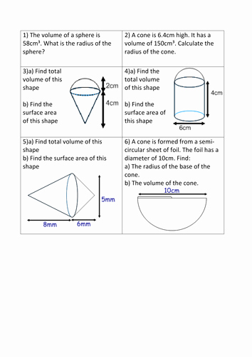 Volume Of Sphere Worksheet Fresh Volume and Surface area Of 3d Shapes Revision Mat