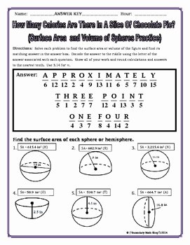 Volume Of Sphere Worksheet Inspirational Surface area and Volume Spheres and Hemispheres Riddle