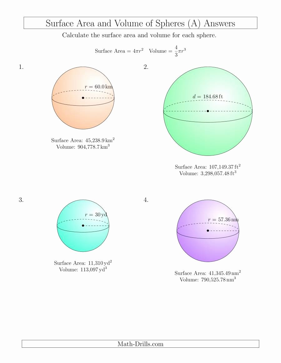 Volume Of Sphere Worksheet Inspirational Volume and Surface area Of Spheres Input Values A