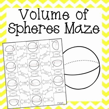 Volume Of Sphere Worksheet Luxury Volume Of Spheres Maze