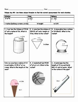 Volume Of Sphere Worksheet New Cylinder Cone and Sphere Volume Worksheet by Kelbelle418