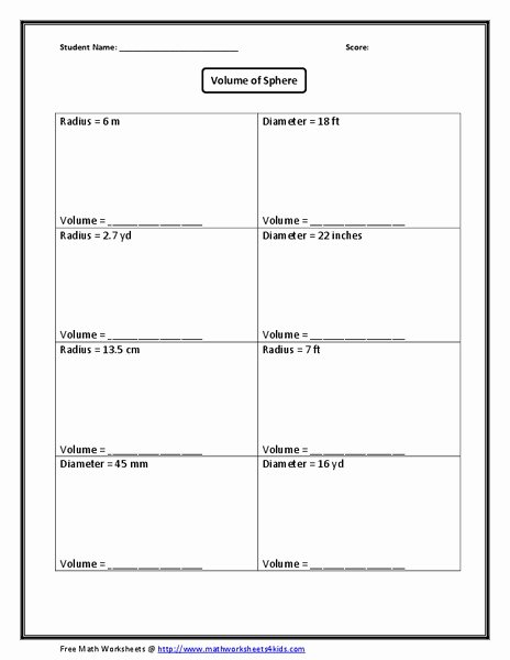 Volume Of Sphere Worksheet New Volume Of Sphere Worksheet for 10th Grade