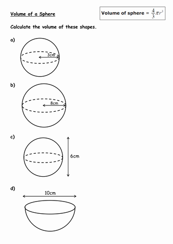 Volume Of Sphere Worksheet Unique Volume Of Cones and Spheres by Kirbybill Teaching