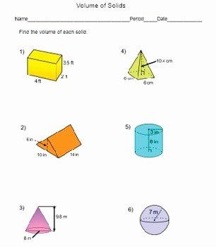 Volume Of Spheres Worksheet Beautiful Volume Of solids Worksheet Prisms Cylinders Cones