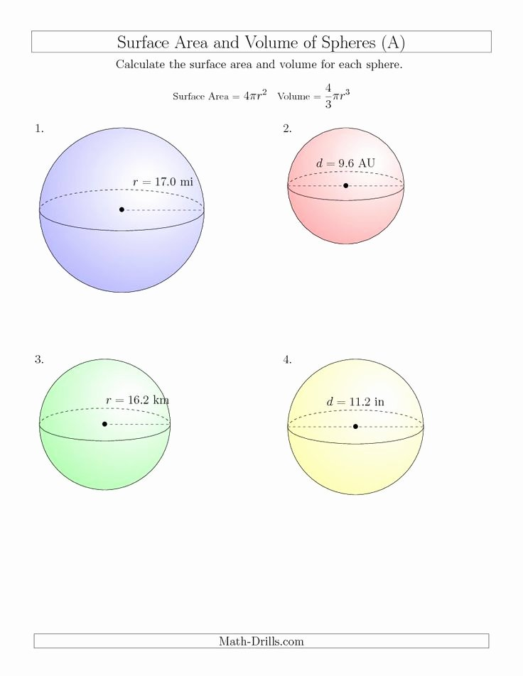 Volume Of Spheres Worksheet Best Of 100 Ideas to Try About Volume Of Cylinders Cones and