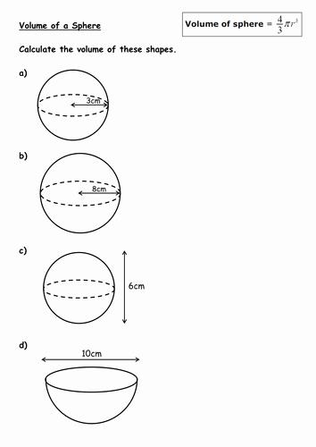 Volume Of Spheres Worksheet Best Of Volume Of Cones and Spheres by Kirbybill Teaching